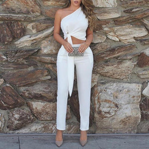 Two Piece One Shoulder Ruched Knitted Knot Top & Pants Set