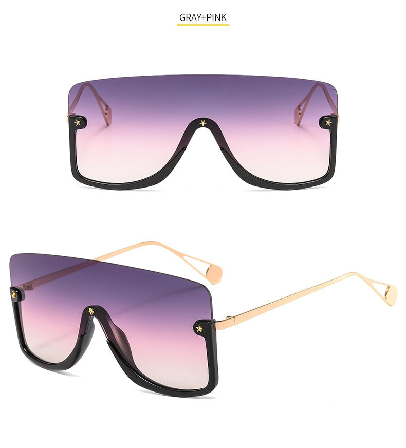 Conjoined Lens Big Half Frame Gradient Mirror Mask Sunglasses