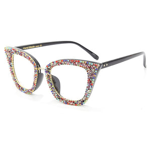 Retro Style Colorful Rhinestones Frame Vintage Cat Eye Sunglasses