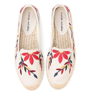 Flat Platform Hemp Rubber Casual Floral Embroidery Slip Ons