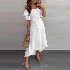 Off Shoulder Bow Lace Ruffles Split Skirt Midi Dress