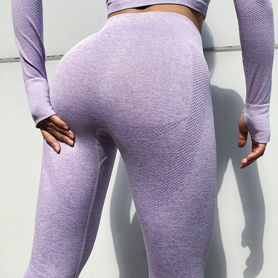O Neck Long Sleeve Crop Top Elastic Waist Seamless Sportswear