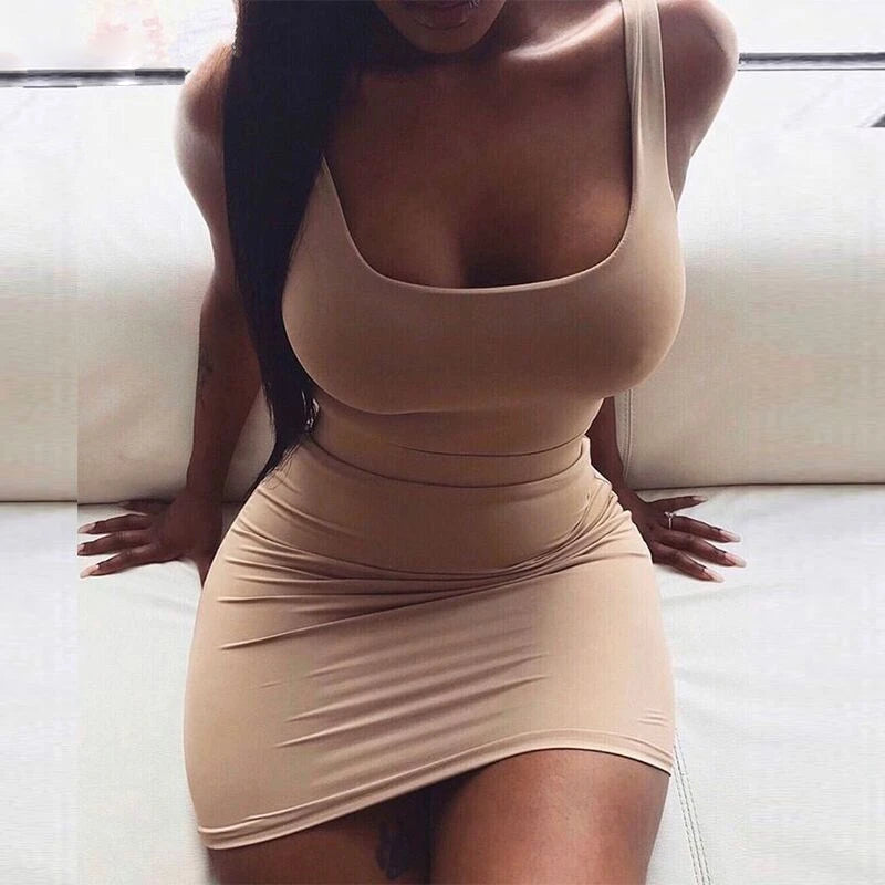 Square Neck Off Shoulder Stretchy Bodycon Dress