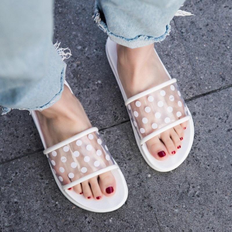 Polka Dot Transparent Open Toe Flip Flop PVC Slippers