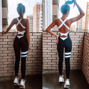 Stripe Patchwork Cross Bandage Backless Skinny Fitness Jumpsuit