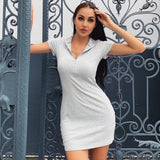 Ribbed Stand Collar Zipper Deep V-neck Stretch Dress