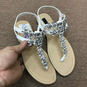 Rhinestone Simple and Comfortable Buckle Flat Sandals