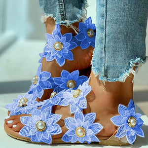 Bohemian Floral Embroidery Pearl Flat Sandal