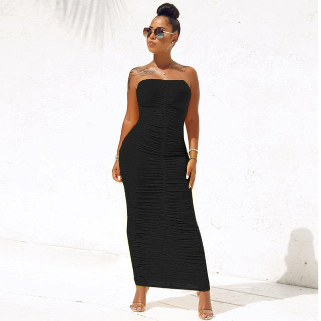 Strapless Backless Ruched Wrap High Waist Long Bodycon Dress
