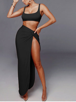 Backless High Waist Twist Side Split Bodycon Two Piece Dress