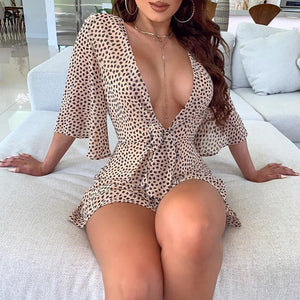 Deep V-Neck Pot Long Sleeve Leopard Romper