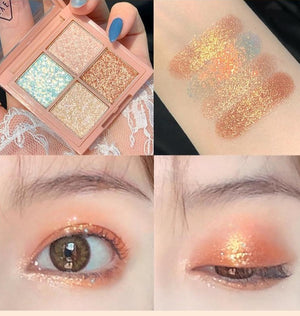 4-Color Mashed Potato Sequins Mini Portable Pearlescent Waterproof Eye Shadow
