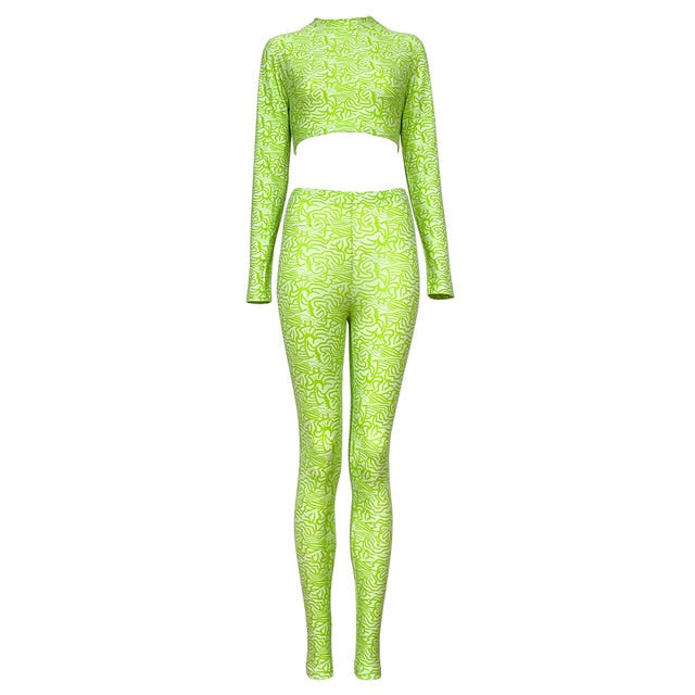 Two Piece Gradient O-Neck Long Sleeve Crop Top & Pants Set