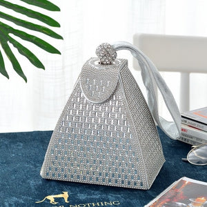 Full Diamond Crystals Hollow Out Pyramid Shaped Bucket Handbag