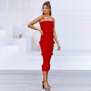 Solid Ruched Ruffles Spaghetti Straps Midi Bodycon Dress