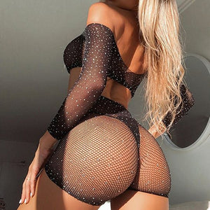 Two Piece Mesh Long Sleeve Crop Top & Bling Rhinestones Shorts Cover Up Set