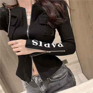 Zipper Front Letter Print Long Sleeves Split Knit T-Shirt