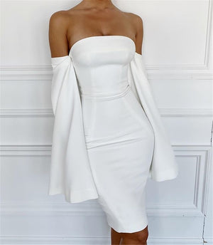 Off Shoulder Split Bell Sleeve Bodycon Dress