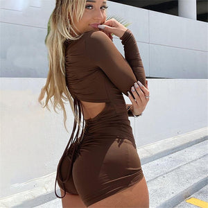 Simple Drawstring Pleated Backless Long Sleeve Romper
