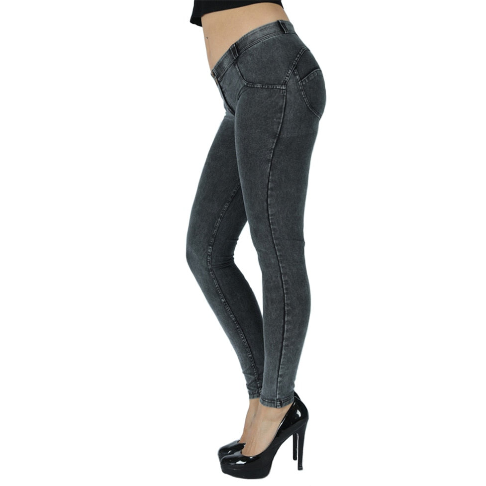Stretch Skinny Mid Rise Denim Shapewear Jeans