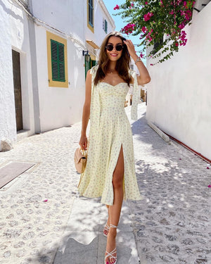 Floral Print Sleeveless Bow Strap Backless Elegant Split Midi Dress