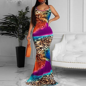 Colorful O-neck Sleeveless Maxi Dress