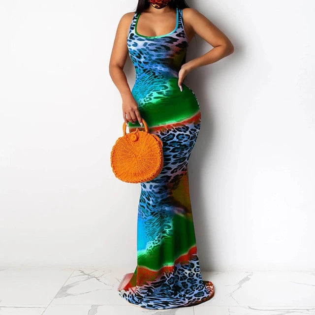 Mermaid Hem Colorful O-neck Sleeveless Maxi Dress