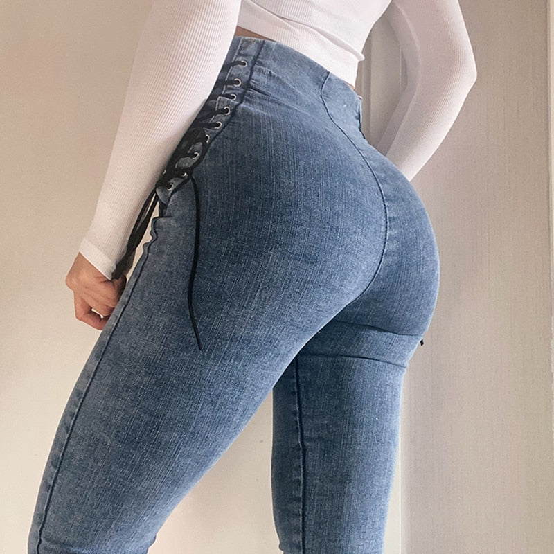 Blue High Waisted Front Zipper Lace Up Skinny Jeans
