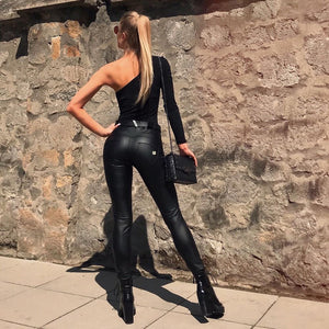 Skinny Slim Shiny Vegan Leather Middle Waisted Butt Up Pants