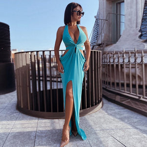 Hollow Out Knotted Draped Ruched Halter Backless Maxi Dress
