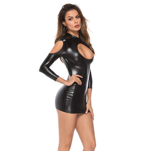 PU Leather Hollow Out Open Bust Long Sleeve Tight Pencil Bodycon Dress