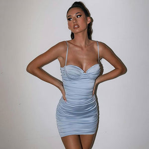Pleated Backless Spaghetti Strap Bodycon Dress