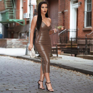 PU Leather Strap V-Neck Backless Slit Bodycon Dress