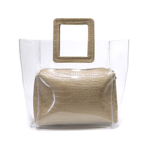 Square Handle Transparent PU Leather Handbag