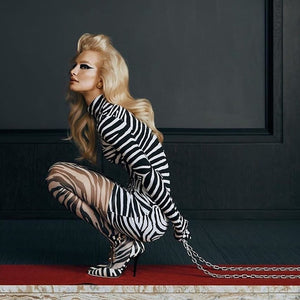 Zebra Print Long Sleeve Bodycon Dress