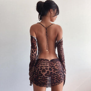 Leopard Print Backless See-Through Flared Sleeve Lace Up Bodycon Dress