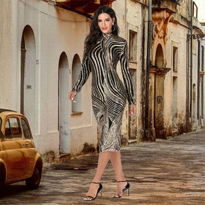 Geometrical Pattern Glitter V-Neck Long Sleeves Stretch Mesh Sequin Dress