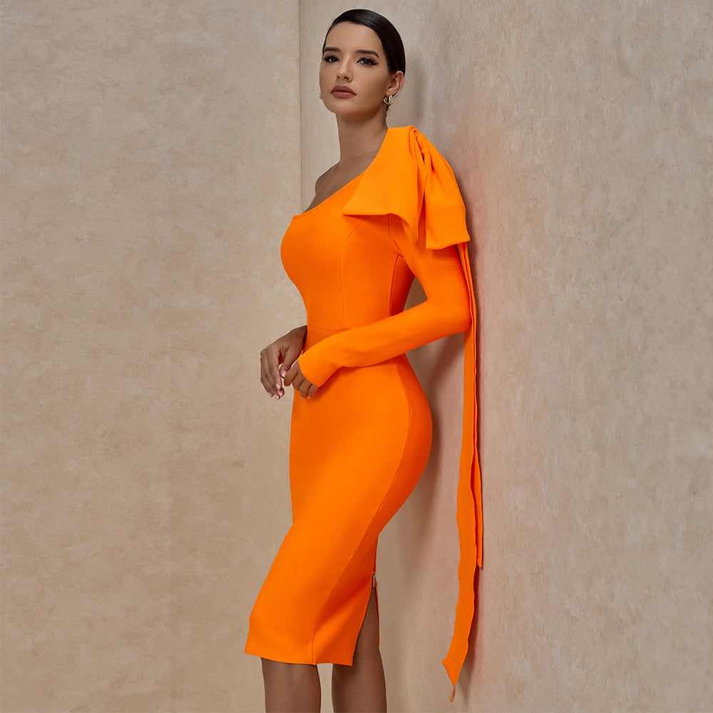 Bownot One Sleeve Asymmetrical Draped Back Bodycon Dress