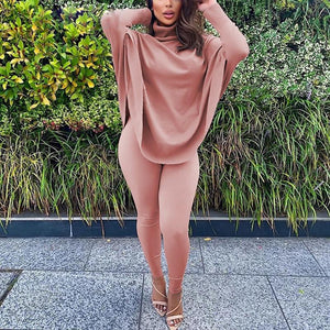 Batwing Sleeve Turtleneck Top & Skinny Pants Two Piece Suit Set