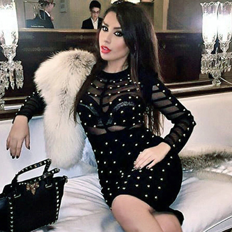 Mesh Patchwork Rivets Beading Mock Neck Long Sleeve Bodycon Dress