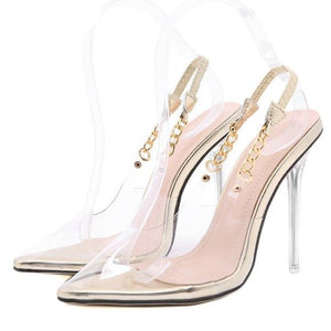 Transparent Pointed Toe Chain Design Crystal Pump Heel Shoe