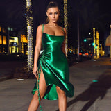 Backless Drawstring Draped Spaghetti Strap Split Bodycon Dress