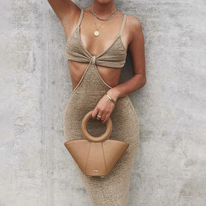 Strap Hollow Out V-Neck Backless Cut Out Wrap Bodycon Dress