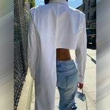 Asymmetric Lapel Button Up Long Sleeve Crop Top