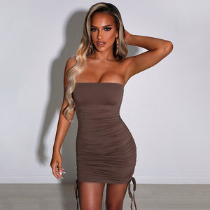 Ruched Backless Strapless Bodycon Dress