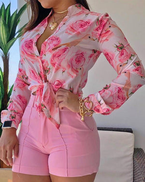 Long Sleeve Floral Printed Tie Knot Blouse