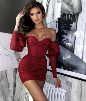 Off Shoulder Long Sleeve Burgundy Bandage Bodycon Dress