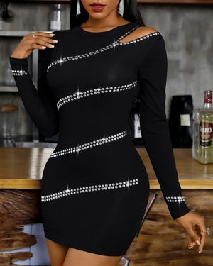 Studded One Shoulder Long Sleeve Bodycon Dress