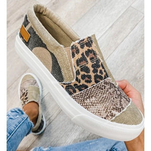 PU Canvas Gladiator Flat Sneakers
