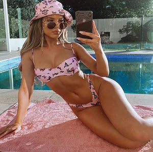 High Waist Print Suit with Chest Pad Bikini